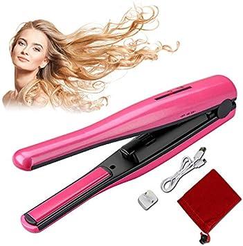 Rizador de pelo con pinzas, alisador de cabello portátil, mini ...