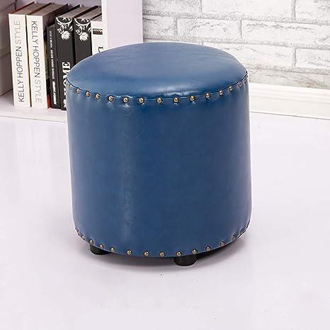 Amazon.com: Vintage Round Oil Wax Leather Sofa Stool Ottoman ...