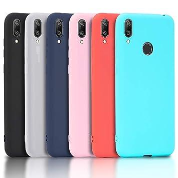 Wanxideng - 6X Funda Huawei Y7 2019, Carcasa en Silicona - [ Negro + Blanco Translúcido + Rojo+ Rosado+ Menta Verde + Azul Claro ]