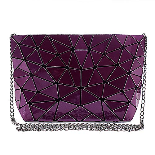 Purse Clutch Mily Holographic Womens Leather Laser Purple Handbag Envelope fZX0qZnS