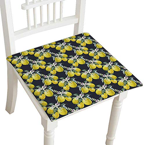 - HuaWuhome Chair Pads Classic Design Watercolor Blooming Lemon Lemon Fruit with Flowers Seamless Paper Dark Cotton Canvas Futon 32