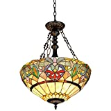 Chloe Lighting CH33360VR18-UH2 Hester - Tiffany-Style Victorian 2-Light Inverted Ceiling Pendent - 18-Inch - Multi-colored