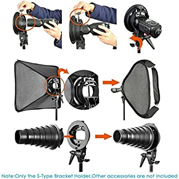 Neewer Studio Photography S-type Speedlite Bracket Holder With Bowens Mount & 75 Inches190 Centimeters Adjustable Light Stand For Flash Snoot Softbox Beauty Dish Reflector Umbrella 2