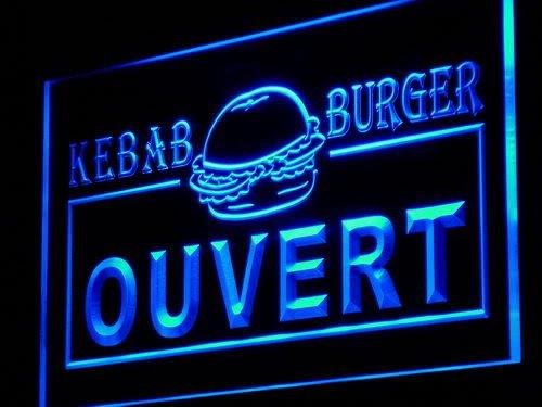 ADVPRO Cartel Luminoso i868-b Ouvert Kebab Burger Enseigne ...