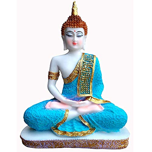 Goldiluxe Vinayak Creations Sitting Buddha Idol Statue Showpiece- White and Blue 24 cm