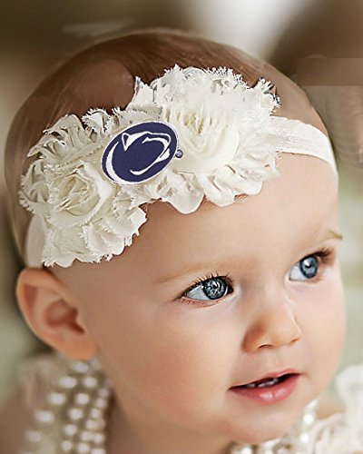 Future Tailgater Penn State Nittany Lions Baby/Toddler Shabby Flower Hair Bow Headband (6-12 Months/ 14