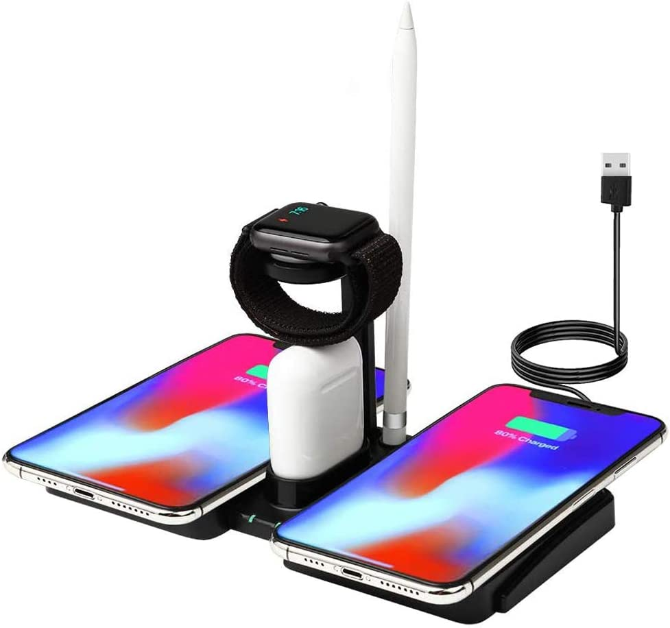 picK-me Wireless Charger, 4 in 1 Fast Wireless Charging Station, 10W, Dual Mobile Phone, Compatible for iPhone, Apple Watch and Airpods with Qi Wireless Charging Function