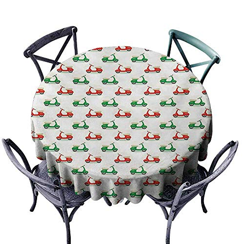 - VIVIDX Water Table Cloth,Motorcycle,Vintage Scooters with Step-Through Frame on Display Lively Colors Spotlight,for Banquet Decoration Dining Table Cover,50 INCH,Emerald Scarlet