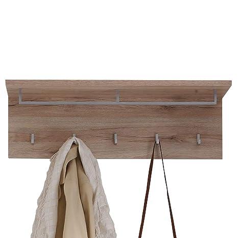 trendteam Perchero Panel perchero Malea, 88 x 29 x 27 cm en acabado roble San Remo con repisa, ganchos y barra
