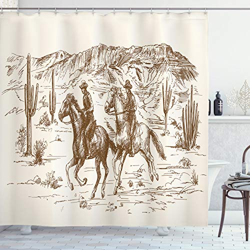 Ambesonne Western Shower Curtain by, Country Theme Hand Drawn Illustration of American Wild West Desert with Cowboys, Fabric Bathroom Decor Set with Hooks, 70 Inches, Cream Umber