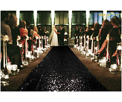 ShinyBeauty Aisle Runner Tape-Black-4FTX15FT,Shimmer Sequin Fabric Wedding Floor Runner,Glitter Carpert -