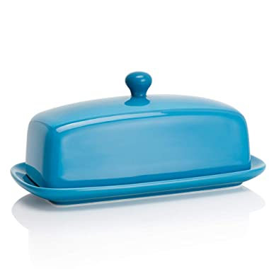 Sweese 307.107 Porcelain Butter Dish with Lid, Perfect for East West Coast Butter, Steel Blue