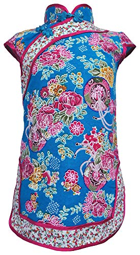 (Amazing Grace Elephant Co. Girls' Chinese Costume Cheongsam Qipao Mini Dress (Floral Blue, 2))
