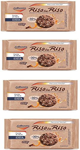 - Galbusera Riso su Riso Rice on Rice Biscuit with Rice, Chocolate and Orange Peel 220 gr, pack of 4