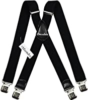 Decalen Mens Suspenders X Style Very Strong Clips Adjustable One Size Fits All
