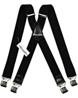 Mens Suspenders Wide Adjustable and Elastic Braces X Shape with Very Strong Clips - Heavy Duty