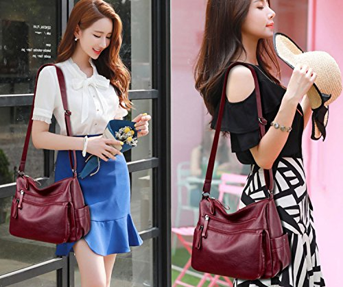 Women's Black Soft Crossbody Casual Daypack Leather Shoulder Burgundy for Ladies Handbags Bag 6Rxwra4n6