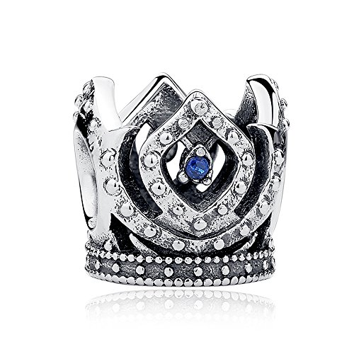- Everbling Princess's Crown with Blue CZ 925 Sterling Silver Bead Fits European Charm Bracelet