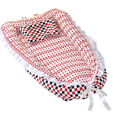 (Abreeze Ruffled Baby Bassinet for Bed -Colorful Plaid Baby Lounger - Breathable & Hypoallergenic Co-Sleeping Baby Bed - 100% Cotton Portable Crib for Bedroom/Travel)