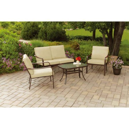 ELITE HOME ZONE LLC Cushioned 4-Piece Patio Conversation Set, Seats 4, Includes 2-piece Sofa Chair, Loveseat and Coffee Table, Durable, Powder-Coated Steel Frames, Tan + Expert Guide
