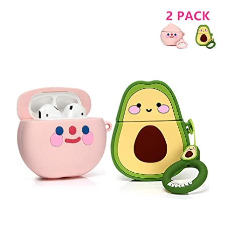 Bow Avocado Fruit and Vegetable Series LEWOTE Airpods Silicone Case Funny Cute Cover Compatible for Apple Airpods 1/&2 Best Gift for Girls or Couples