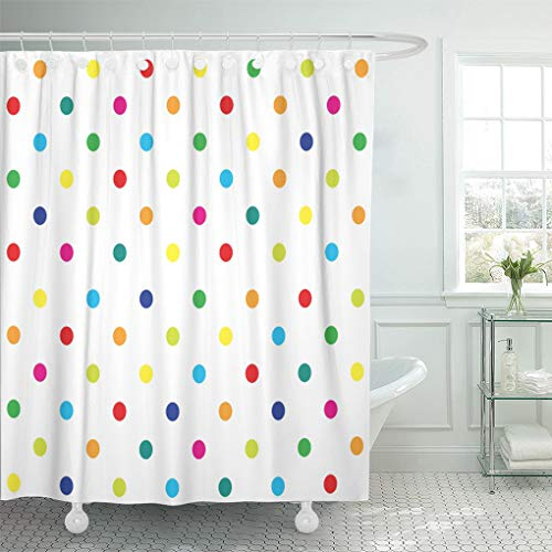 Emvency Shower Curtain Colorful Rainbow Polka Dot Girl Kids Pattern Blue Geometric Shower Curtains Sets with Hooks 72 x 72 Inches Waterproof Polyester Fabric