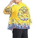 Men Japanese Yukata Coat Kimono Outwear Vintage Loose Top Chinese Dragon