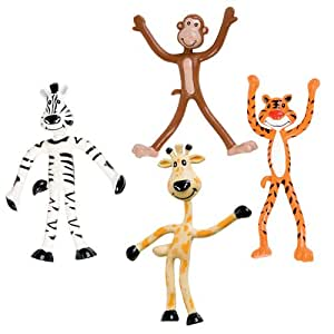 Dozen 'Fun Toys' Bendable Zoo Animals: Giraffes, Tigers, Monkeys, and Zebras - 4 inches tall