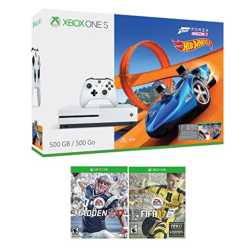 51XpVfazvzL - Xbox One Racing Sports Bundle (3 Items): Xbox One S 500GB Console with Forza Horizon 3 Hot Wheels, NFL 17, and FIFA 17 Games