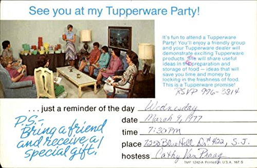 vintage advertising postcard see you at my tupperware party advertising