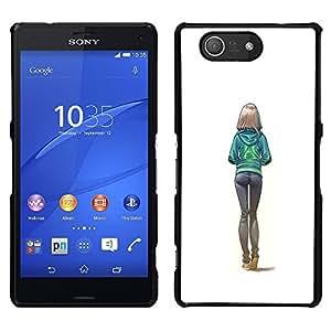 Culos Sexy White Girl Colegio Mujer- Metal de aluminio y de plástico duro Caja del teléfono - Negro - Sony Xperia Z3 Compact / Z3 Mini (Not Z3)