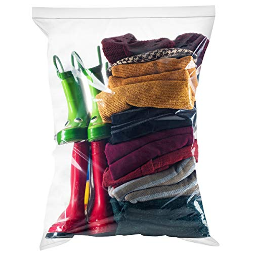- [ Pack of 50 ] Large Storage Bags 2 Pack Combo Ziplock & Slider Large Big Storage Bags, 16