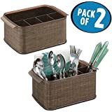 mDesign Flatware/Silverware Organizer Caddy for Kitchen Table, Dining Table - Pack of 2, Bronze/Sand