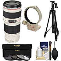 Canon EF 70-200mm f/4 L USM Zoom Lens with Tripod + Ring Collar + 3 UV/CPL/ND8 Filters + Kit for EOS 6D, 70D, 5D Mark II III, Rebel T3, T3i, T4i, T5, T5i, SL1 DSLR Cameras