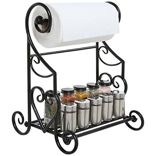 (Freestanding Black Metal Kitchen & Bathroom Paper Towel Holder Stand/Counter Top Shelf Rack & Towel Bar)
