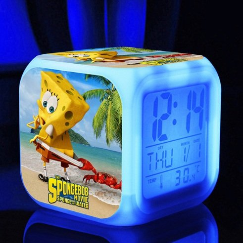 SpongeBob SquarePant Patrick Star Digital Alarm Desktop Clock with 7 Changing LED Clock Colorful Toys for Kids (Style 2)