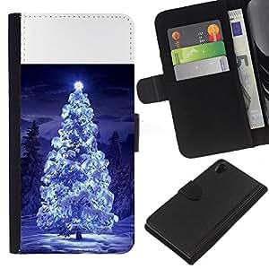 iBinBang / Flip Funda de Cuero Case Cover - Luces del árbol de navidad nieve azul noche de invierno - Sony Xperia Z2 D6502 D6503 D6543 L50t