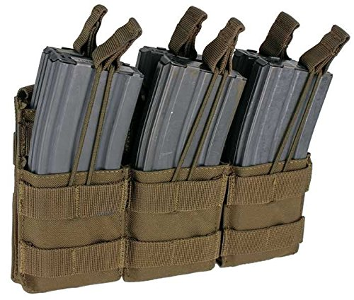 Condor Tactical Triple Stacker Open-Top M4 Mag Pouch - Brown (Military Magazine Officer)