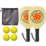 Amazin' Aces Pickleball Paddles | Set Includes 2 Wood Pickleball Paddles + 4 Pickleballs + 1 Mesh Carry Bag | Great Rackets For Beginners | Pickleball Paddle Set Includes eBook w/Rules & Tips