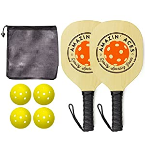 Amazin' Aces Pickleball Paddle Bundle | Set Includes Wood Paddles + Four Balls + One Mesh Pickleball Carrying Bag | Great Rackets For Beginners | Includes eBook w/Rules & Tips (4 Paddles (Natural))