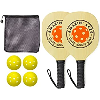 Pickleball Paddle Set By Amazin Aces | Pickleball Set Includes 2-4 Wood Pickleball Paddles, 4 Pickleballs, 1 Carry Bag & Guaranteed FUN!