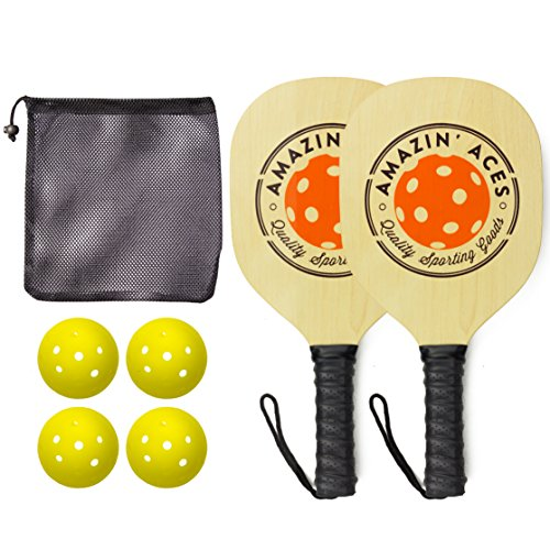 Amazin Aces Pickleball Paddles | Set Includes 2 Wood Pickleball Paddles + 4 Pickleballs + 1 Mesh Carry Bag | Great Rackets for Beginners | Pickleball Paddle Set Includes eBook w/Rules & Tips