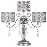 Amalfi Décor Victoria Antique Silver Metal 3 Pillar Candle Holder, Wedding Table Hurricane Centerpiece Crystal Draped Accent Stand Display