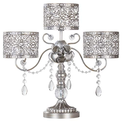 - Amalfi Décor Victoria Antique Silver Metal 3 Pillar Candle Holder, Wedding Table Hurricane Centerpiece Crystal Draped Accent Stand Display