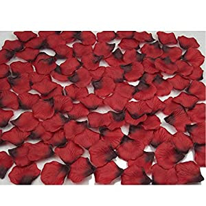 Mydio 2000 Pack Dark Red Silk Rose Petals Wedding and Birthday Flower Decorative Rose Petals Creative Props(2000 pcs)
