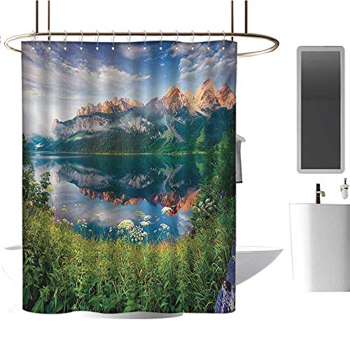 Stevenhome Mountain Shower Curtains Fabric Extra Long Sunny Summer Morning on Lake Austrian Alps Crystal Mirroring Water Fairy Season Bathroom Decor Sets with Hooks Multicolor