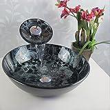Bathroom-Modern-Glass-Vessel-Sink-Faucet-Pop-Up-Drain-Combo-Black