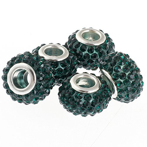 RUBYCA Big Hole Czech Crystal Slide Charm Beads fit European Charm Bracelet (10pcs, Green, ()
