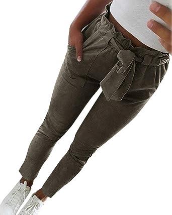 Minetom Femme Pantalons Casual Slim Crayon Taille Haute avec Ceinture A  Armée Verte X-Small e8390b12b38
