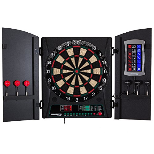 "(Bullshooter Cricket Maxx 1.0 Electronic Dartboard Cabinet Set with 13.5"" Target Area, Wooden Cabinet Doors with Walnut Finish and 34 Games with 183 Variations (4 Cricket Games))"
